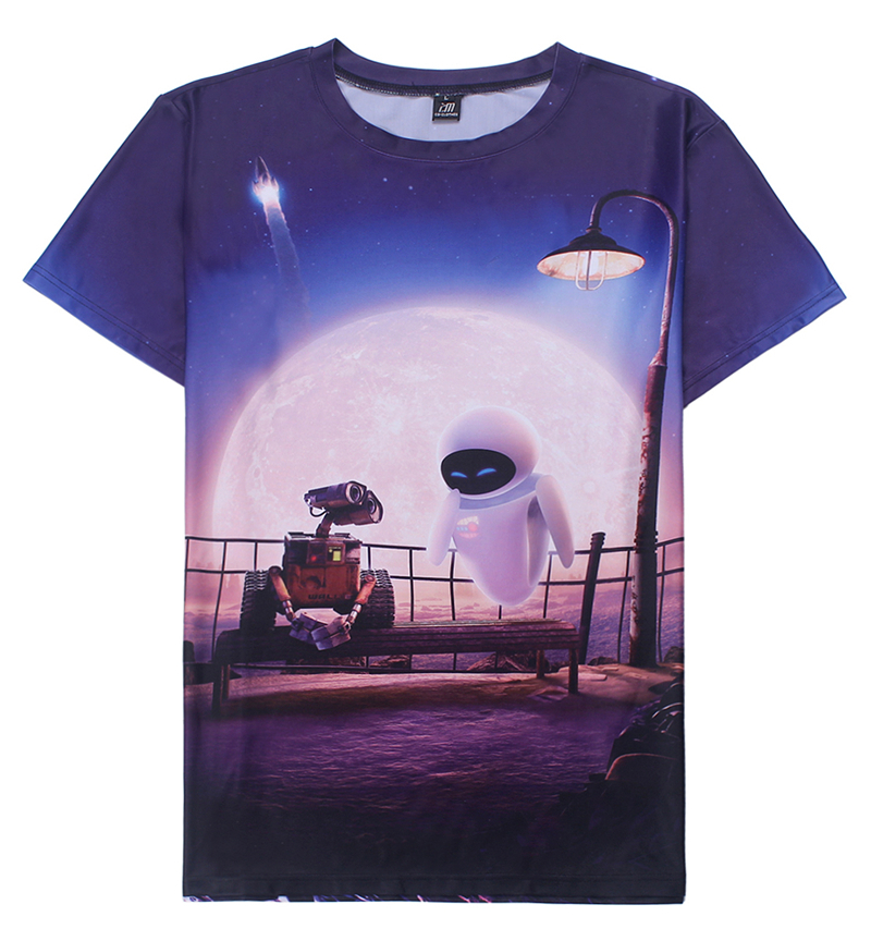 2016 New High Quality 3D Print WALL E Mens T-shirt Factory Price Eva custom tee shirts Brand New JD-0110(China (Mainland))