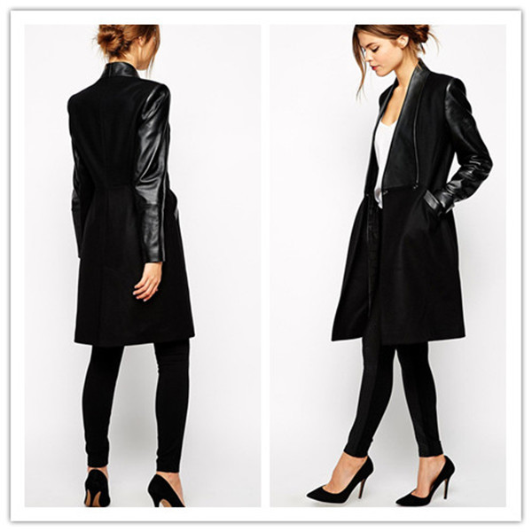 Women's trench coat with leather sleeves – Modern fashion jacket ...