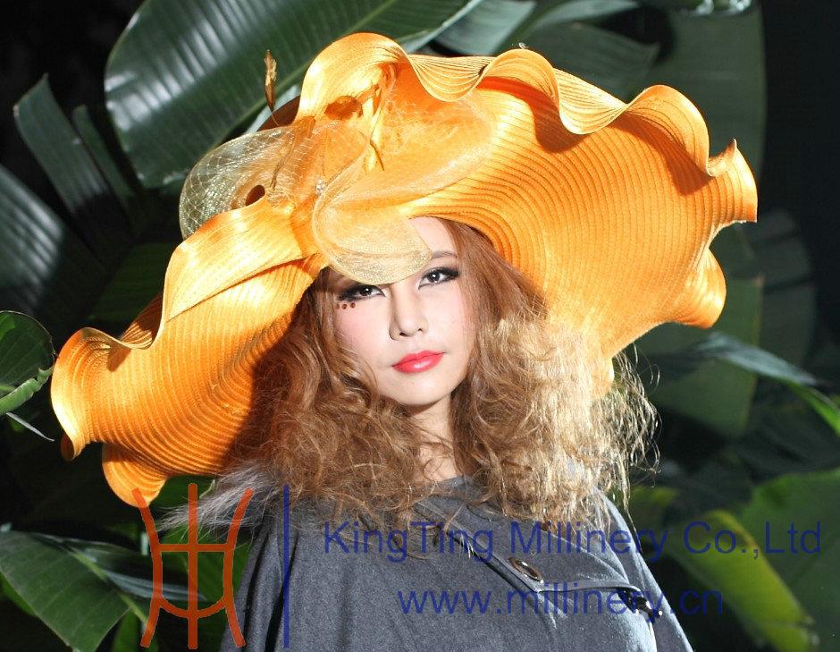 Free Shipping Elegant Formal Women Hats Big Brim Big Hat Wave Brim Exaggerated Women Fashion Show Custome Hat Gold Hat(China (Mainland))