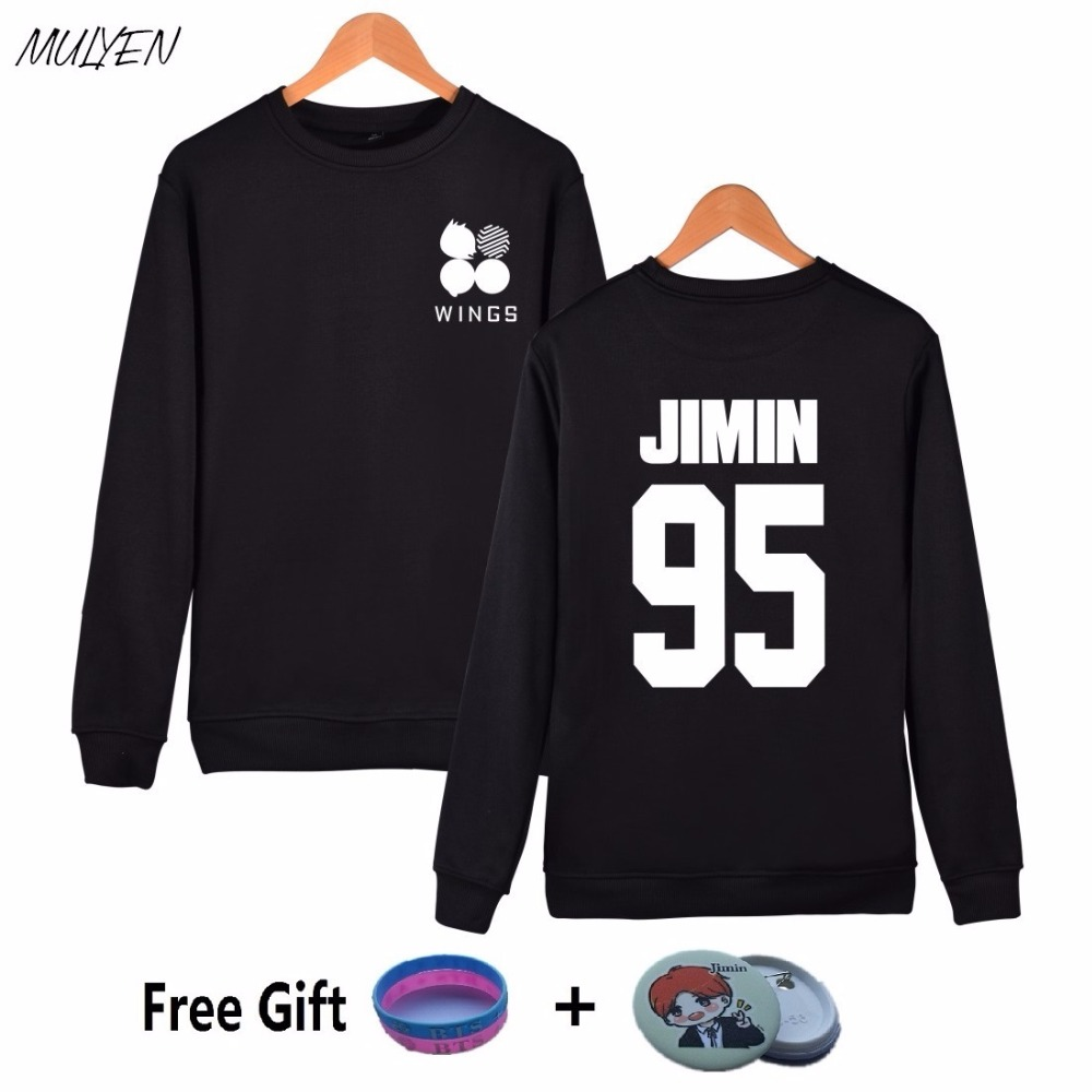MULYEN Fashion BTS 2nd Album Wings Print Harajuku Sweatshirt Women Fleece Pink Hoodie For Kpop Fans Bangtan Boys Hoodies(China (Mainland))