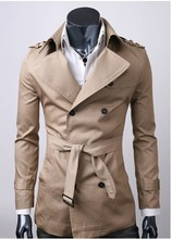Korean Style  Men's Long Tranch Jacket High Quality Double-Breasted  Men Windbreaker Coat 3 Colors HB88(China (Mainland))
