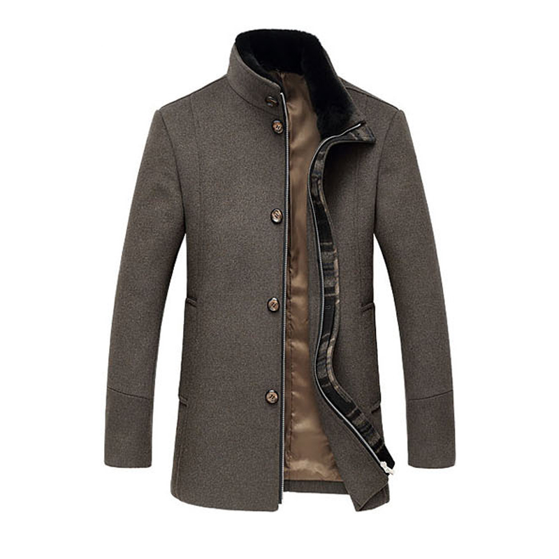 High Quality Fashion Wool Men Pea Coat Solid Cardigans Men Overcoat Zipper Stand Collar Male Jackets And Coats Business Outwear(China (Mainland))