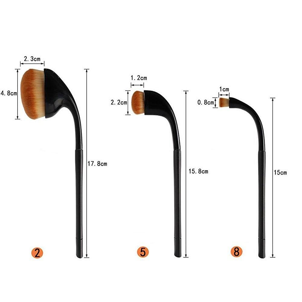 Newly Design Black 9pcs Small Pro Stylish Golf clubs Shape Oval Makeup Brush Soft Powder Foundation Brushes Cosmetic kits
