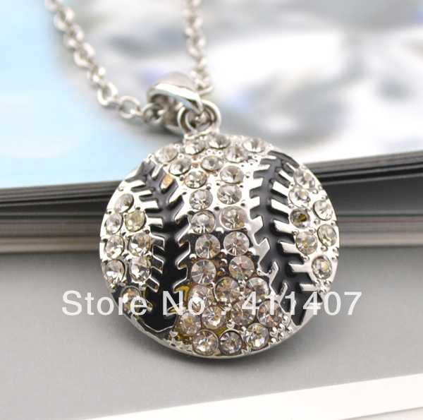 free shipping crystal stud baseball pendant necklace(China (Mainland))