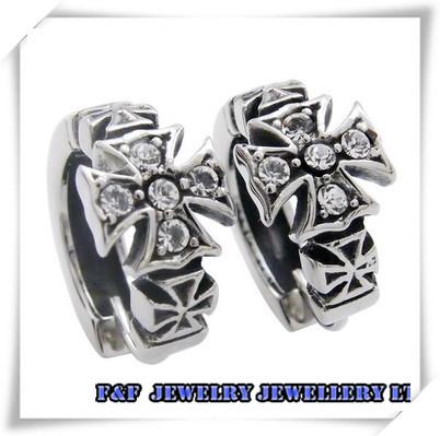 One Pair 316L Men's Women's Silver Cross CZs Stainless Steel Huggie Earrings, ,E#032 - FUNFUN store