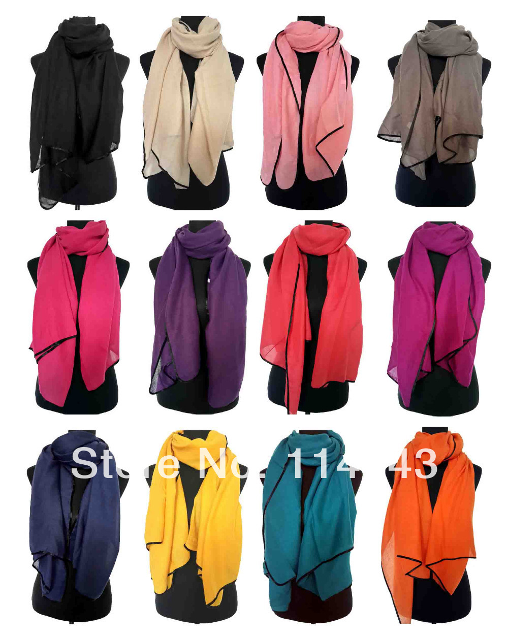 10pcs/lot Fashion Solid Plain Color Twill Scarf Shawl Wrap Hijab Muslim Accessories Black Border, Free Shipping(China (Mainland))
