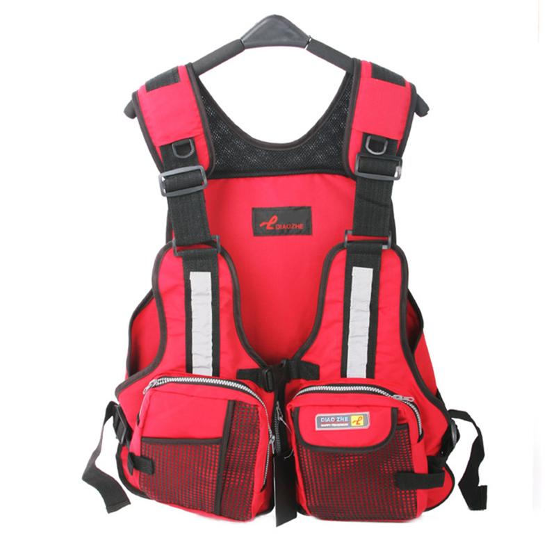New Adult Safety Swimming Buoyancy Aid Sailing Life Jacket Floating Vest Adjustable Fishing Clothing With Multi-Pocket(China (Mainland))