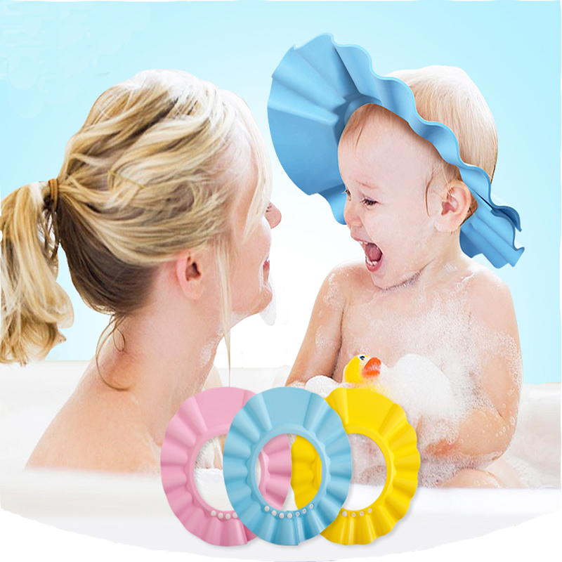 3Colors High Quality Adjustable Baby Shampoo Shower Cap Hair Wash Shield Baby Care Bath Shower Cap Hat Protection For Children