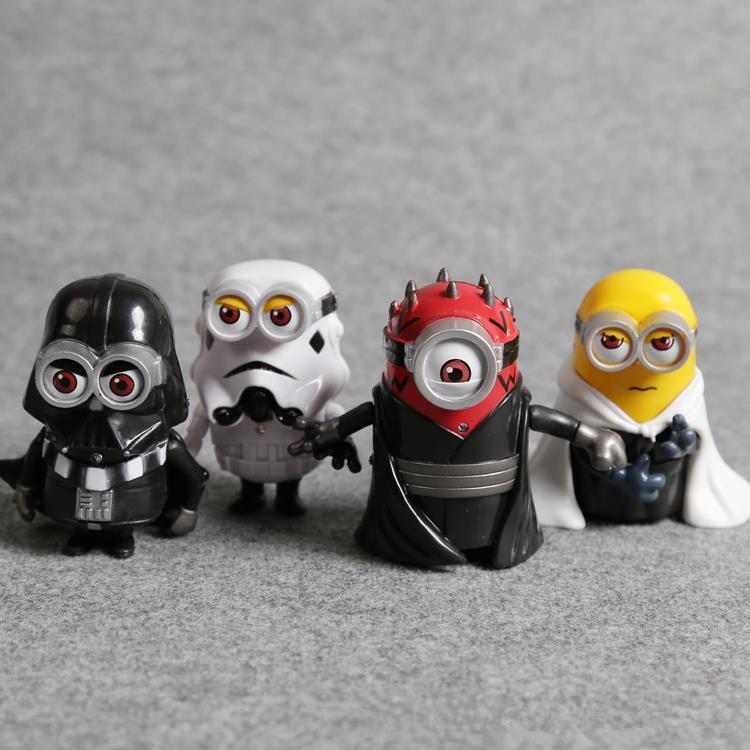 4pcs/lot Minion Cosplay Star Wars Darth Maul Darth Vader Stormtrooper Luke Skywalker PVC Action  Figures Toys Kids Gift