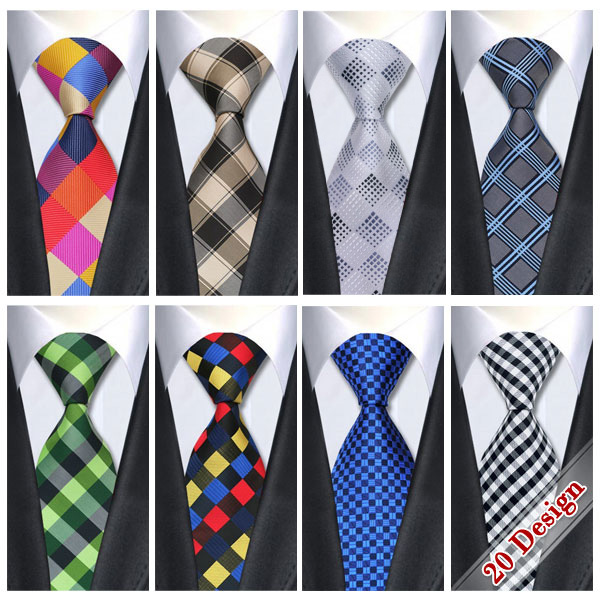 2016 Classic Silk Mens Ties Neck Ties 8.5cm Plaid&Check Ties for Men Formal Wear Business Suit Wedding Party Gravatas with Brand(China (Mainland))