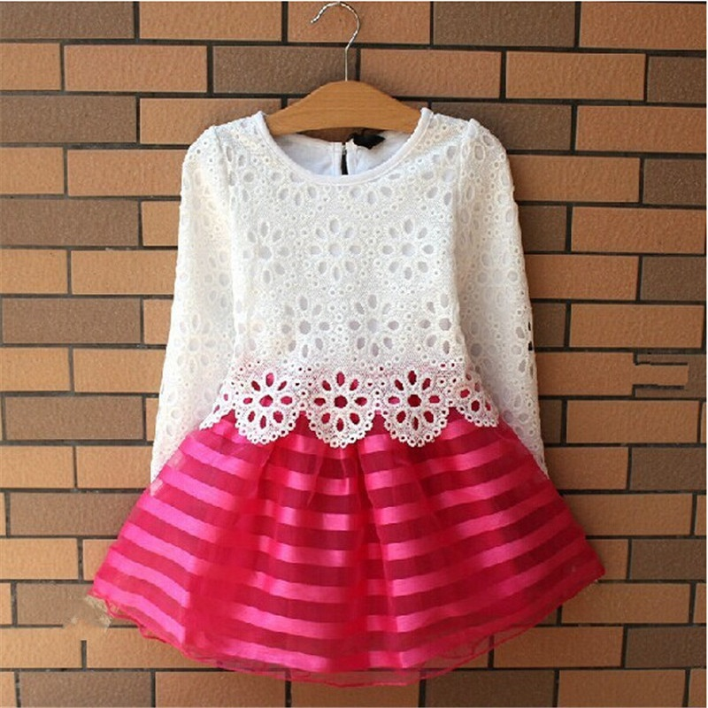 New 2016 Girls Dresses Fashion Casual Summer Lace crochet Tutu Dress Kids Girl Party Clothes for 2-6Y Children Vetement Fille