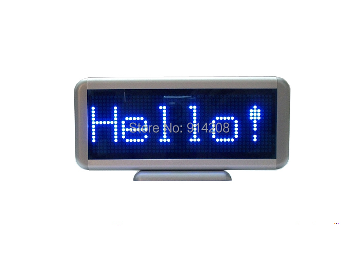 Blue LED scrolling Electronic message display board desk panel /car advertising /programmable rechargeable/ 16*48 dots(China (Mainland))