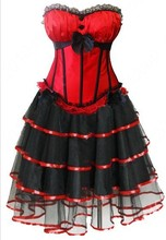 free shipping Sexy Lingerie Costumes Red Padded Cup Corset Dress Party Skirt 8899+7007rwalsonrockabilly