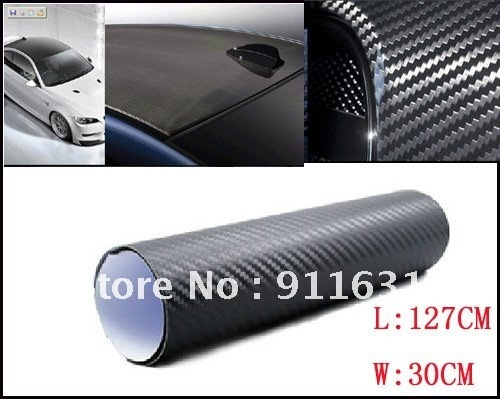 """3D Carbon Fibre sticker 30cm x127cm 12""""x50"""" Car Vinyl Sheet Carbon Phone Sticker For All Car Waterproof Color Choose"""