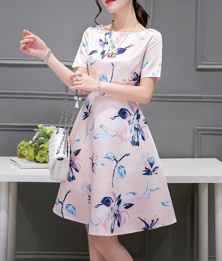 2016 New Summer Korea Style Printed A-line Short Sleeve Dress Casual Women Dresses Ladies Elegant Vestidos(China (Mainland))