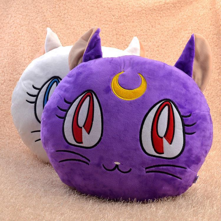 1pcs Free Shipping Anime Sailor Moon Plush Pillow Tsukino Usagi Purple cat Luna &amp; Artemis Plush Toy Soft Pillow Cushion 28*35cm<br><br>Aliexpress