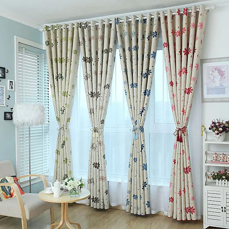Quality Flower Curtain Shalian Rustic 4 Color Flowers Patterns Floweryness Graphic Cut Flower Curtains Tulle(China (Mainland))