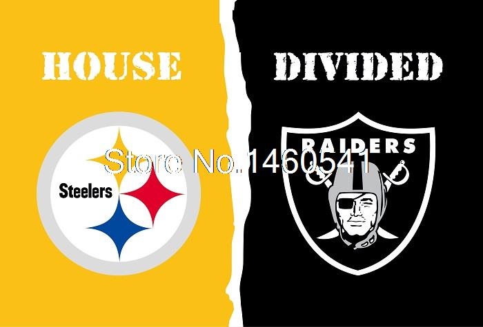 Pittsburgh Steelers Oakland Raiders House Divided Flag 3ft x 5ft Polyester NCAA Banner Flying Size No.4 144* 96cm Custom flag(China (Mainland))
