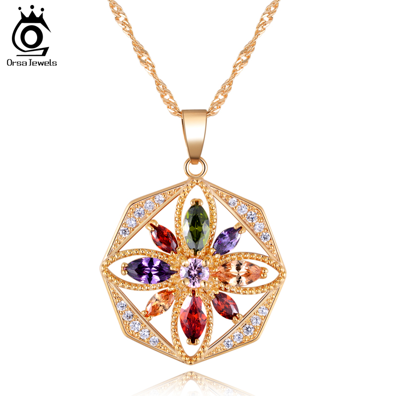 18K Read Gold Plated Pendant Necklace with Multi Colors Austrian CZ Crystal Necklace for Women Birthday OMN03(China (Mainland))