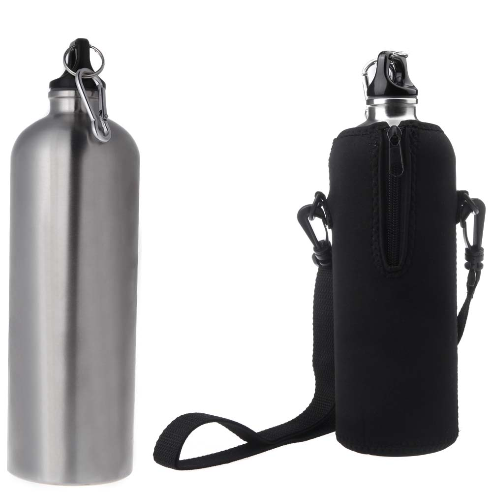 1000ML Narrow Mouth Camping Hiking Water Bottles Bicycle Climbing Water Kettle+Bag Stainless Steel Outdoor Sports Bottles(China (Mainland))