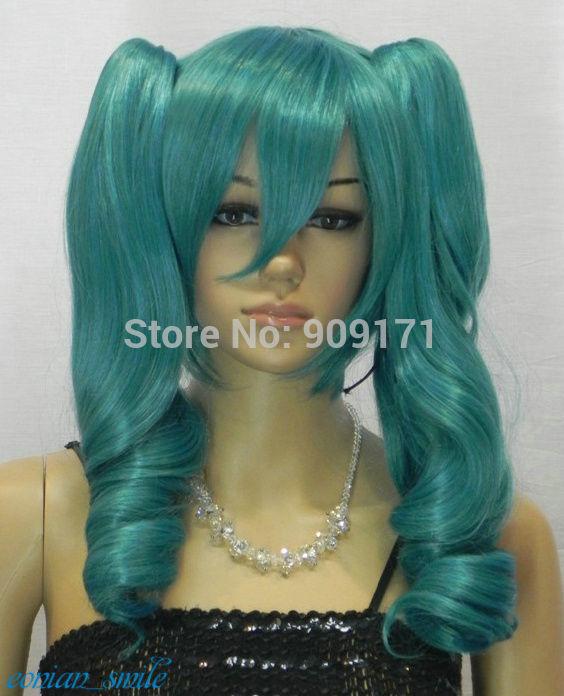 Split Type Turquoise Green Long Wavy Cosplay Lolita Lori Wig Ponytail (B0320)<br><br>Aliexpress