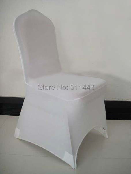 Free Shipping 100pcs Big Discount White Stretch Spandex Lycra Banquet Chair Cover Wedding Chair Cover(China (Mainland))