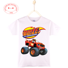 2016 Hot Sale Casual  Blaze And The Monster Machines Kids T-shirt Tops Cotton Cartoon 3D Print Boys Shirt Girls Free Shipping