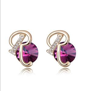 2016 New Classic Vintage Purple Geometric Crystal stud earrings for women fashion earring Zinc Alloy jewelry(China (Mainland))