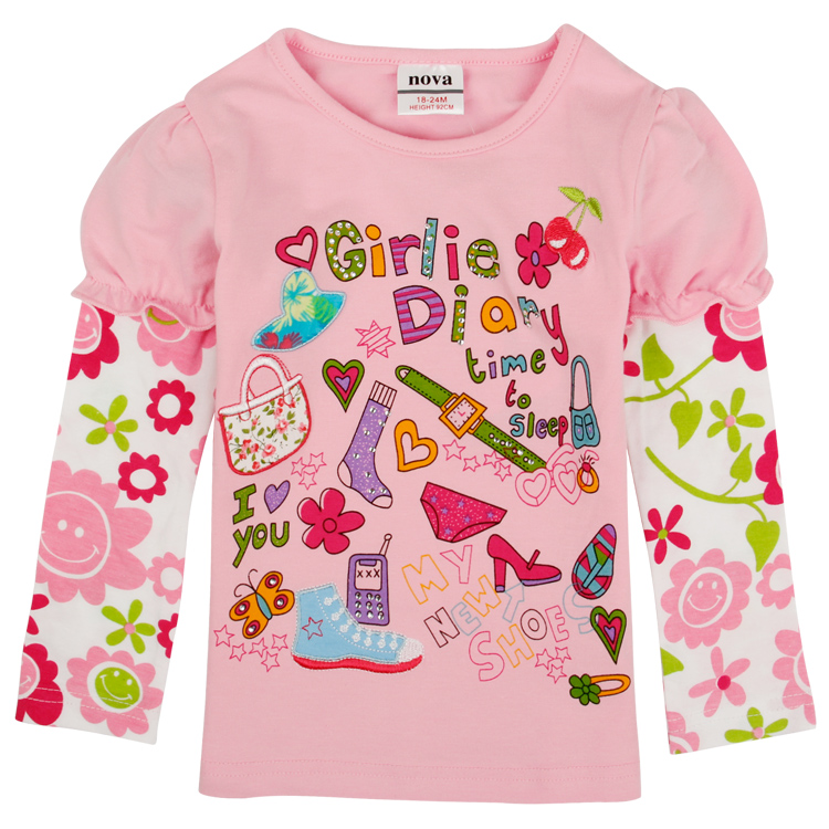 Children Girl T shirt Cartoon Long Sleeves T shirt Nova Band Boys Girls Cotton Child Top Tee Children's T-Shirts Retail F4191(China (Mainland))