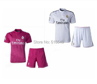 Top quality 2015 Real Madrid white Soccer Jersey real madrid soccer uniform kit 100% emboidery logo Can customed!free shipping