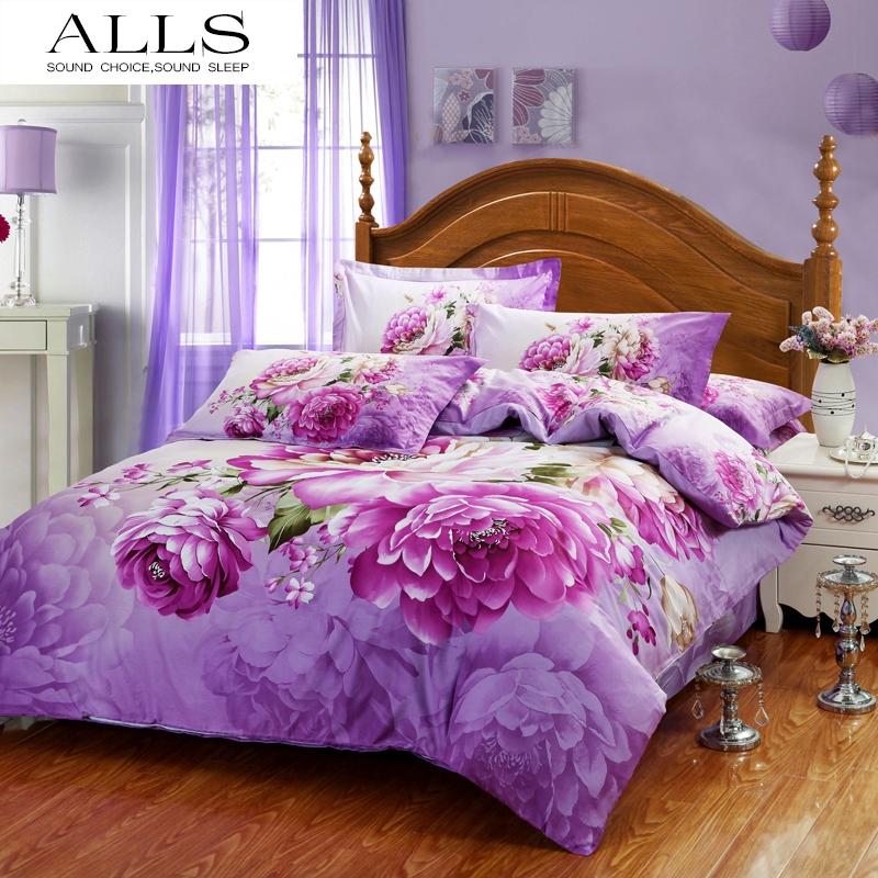100% cotton flower bed linen pink rose bedding set purple bed sheet set flat sheet doona duvet cover pillow sham queen/king size(China (Mainland))