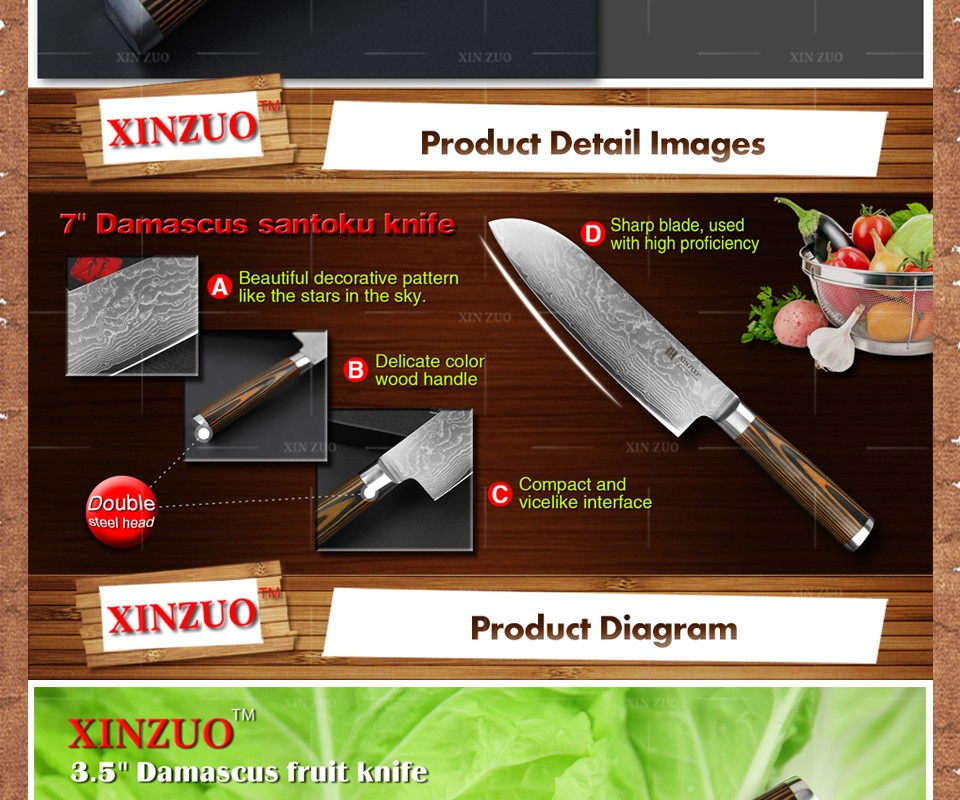 Buy XINZUO 5pcs kitchen knife set 73 layer Japanese VG10 Damascus kitchen knife cleaver chef utility knife wood handle free shipping cheap