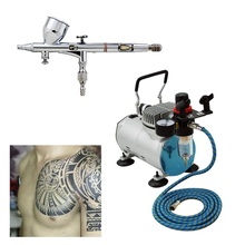 Airbrush Double Action Kit 0.3mm Needle Air Brush Spray Gun without comperssor body Paint Car Art temporary tattoo set SP180KTG(China (Mainland))