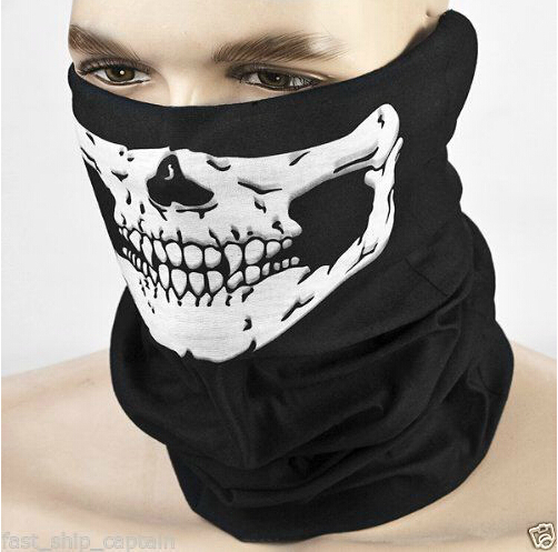 Cycling Bike Skull Skeleton Multi-functional Headwear Hat Neck Ghost Scarf Outdoor Motorcycle Bicycle Half Face Mask Cap New(China (Mainland))