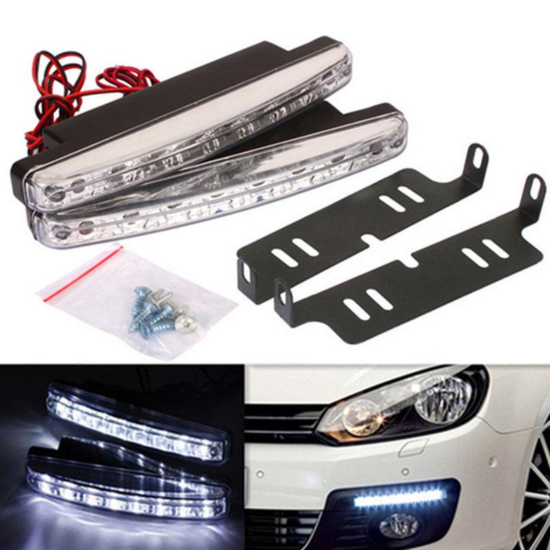 Newest 1Pcs Car Daytime Running Lights 8 LED DRL Daylight Kit parking light 12V DC Head Lamp-PY car styling(China (Mainland))
