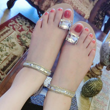Crystal Simple Shoes Woman Clip Toe Sandals Flat Soft Ankle Buckle Hollow Slippers Summer Chinelo Lady Style Fashion Flip Flops(China (Mainland))