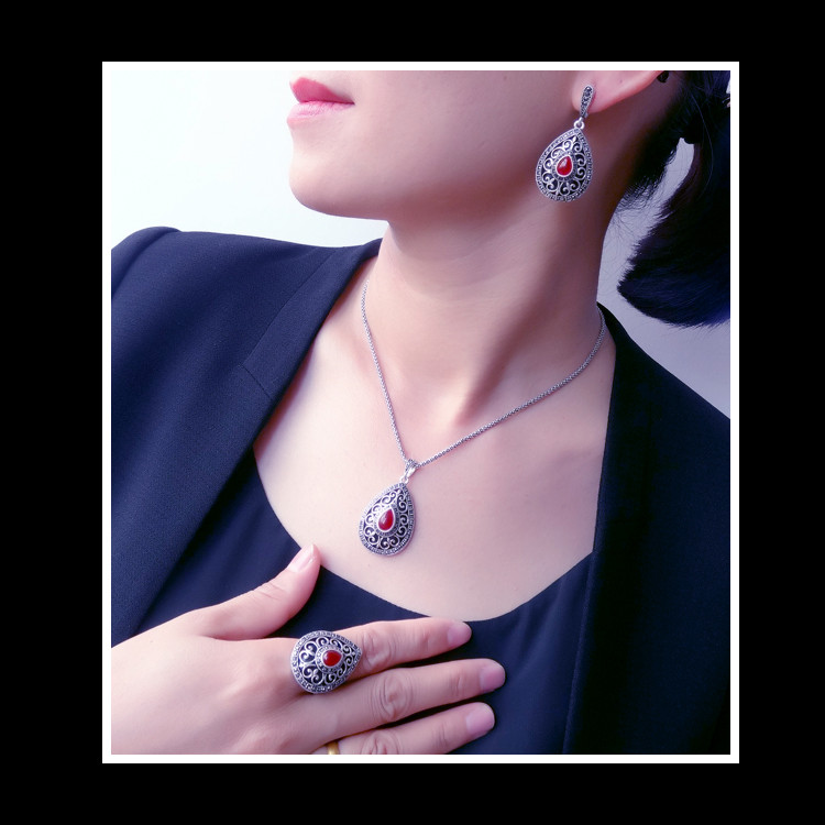 HENSEN New Arrival Hight Quality Antique Silver Plated Vintage Turkish Jewelry Red Resin Fashion Water Drop Jewelry Sets