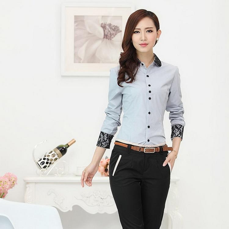 Formal gris camisetas mujer de manga larga de oficina Diseno de uniformes para oficina 2017