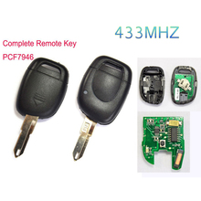 High Quality 1 Button Remote Key Keyless Car key Fob PCF7946 Chip 433Mhz For Renault Twingo Clio Master KANGO Free Shipping(China (Mainland))