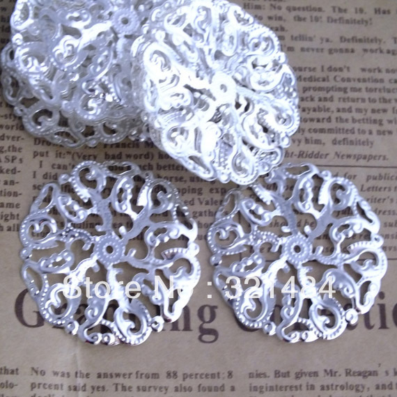 Bulk 200pcs Silver plated Tone Filigree Round Flower Wraps Jewelry Findings Connectors 45mm<br><br>Aliexpress