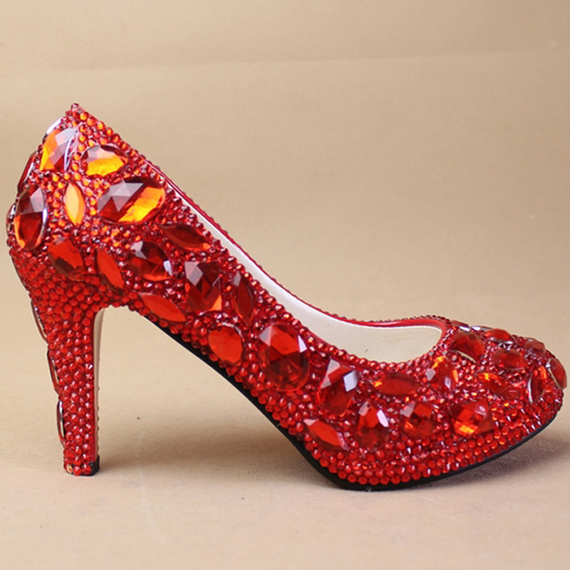 Gorgeous Unique Sparkling Crystal Wedding Bridal Shoes Handmade Red Crystal Party Prom Shoes Bridesmaid Shoes<br><br>Aliexpress