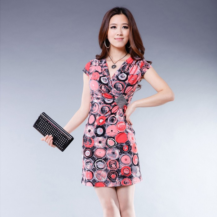 Free shipping 2013 new arrival fashion slim hip sexy leopard print short-sleeve summer  women's dress