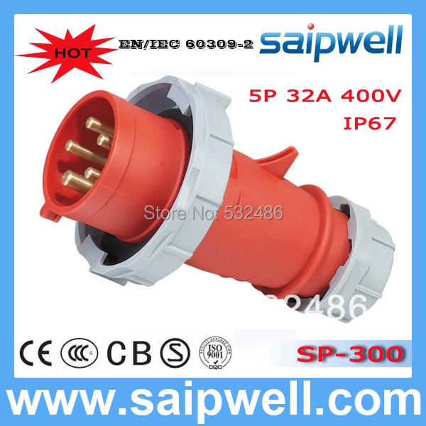 Saipwell 2014 HOT Sale IP67 cee Industrial Plug&Socket 5P 32A European Type Industrial Plug SP-300(China (Mainland))