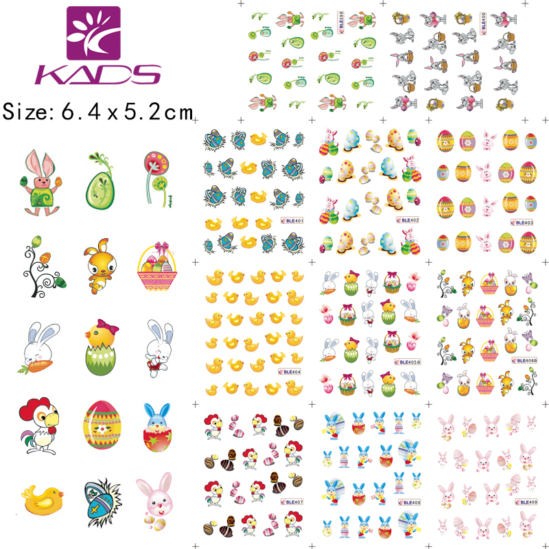 BLE399-409 Easter nail art sticker Beautiful Eggs & Rabbits & ducks cartoon nail stickers nail art decorations water transfer(China (Mainland))