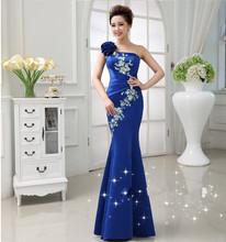 Free shipping TK1270 sexy One-shoulder Party Gowns long mermaid evening dress vestido de festa 2016 robe de soiree 2016(China (Mainland))