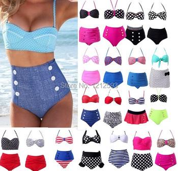 Plus Size Retro biquini Dot Women Push up High Waist Bikini Set Swimsuit Beachwear Swimwear Brazilian bathing suit crochet