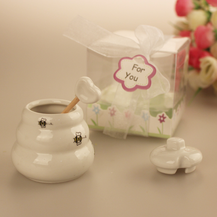 1pcs Meant to Bee Ceramic Honey Pot Wedding Bridal Shower Favor Gifts Bee Baby Shower Favors Honey Pot(China (Mainland))