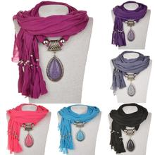Tassel Water Drop Fashion Necklaces For Women 2014 Resin Beads Shawl Long Necklace Fabric Soft Scarf Necklaces Pendants Jewlery