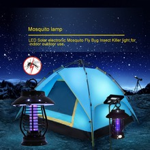 USA stock Waterproof Solar LED electric Mosquito Killer Lamp anti Fly Bug Zapper Insect repeller pest reject electronics trap(China (Mainland))