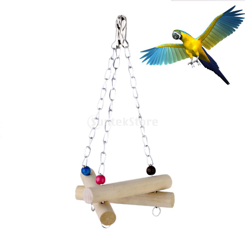 Wood Bird Toys : Wooden bird swing toy cage toys for squirrels parrots